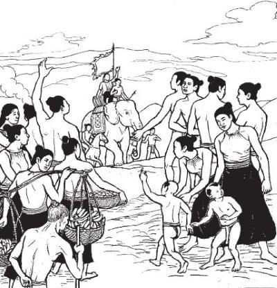 """(Tranh minh họa của họa sĩ Đức Hòa trong bộ """"Lịch sử Việt Nam bằng tranh"""" – Sử dụng dưới sự đồng ý của tác giả)"""