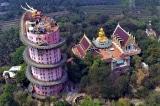 chùa Wat Samphran, Ngôi chùa màu hồng, Thái Lan,