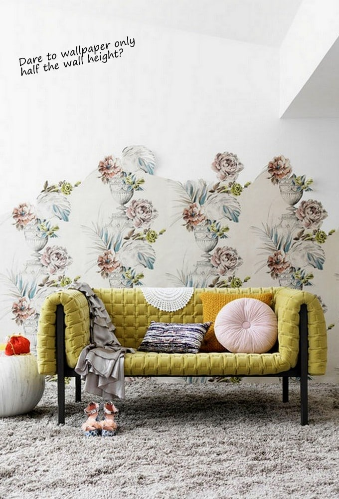 Wallpaper_Half_height_wall_with_floral_print_via_Design_Lovers_Blog