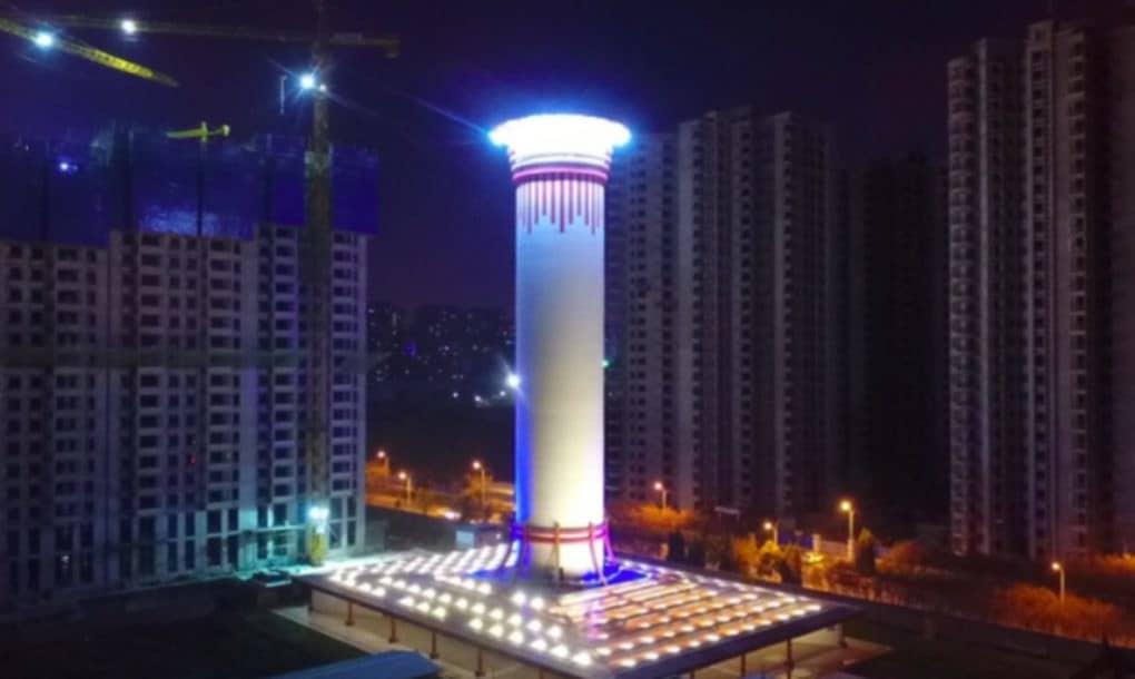 ô nhiễm không khí, ông nhiễm sương khói, ô nhiễm không khí ở Trung Quốc, Trung Quốc thử nghiệm tháp lọc khí ô nhiễm lớn nhất thế giới