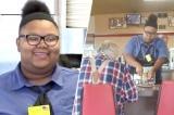 Cô phục vụ nhận được học bổng 16.000 USD khi giúp đỡ cụ ông cắt thức ăn