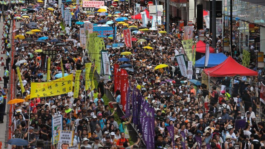 bieu tinh tai Hong Kong