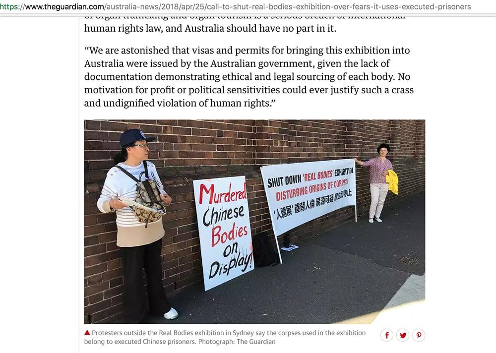 triễn lãm cơ thể người, người nhựa hóa, phản đối triển lãm cơ thể người ở Úc