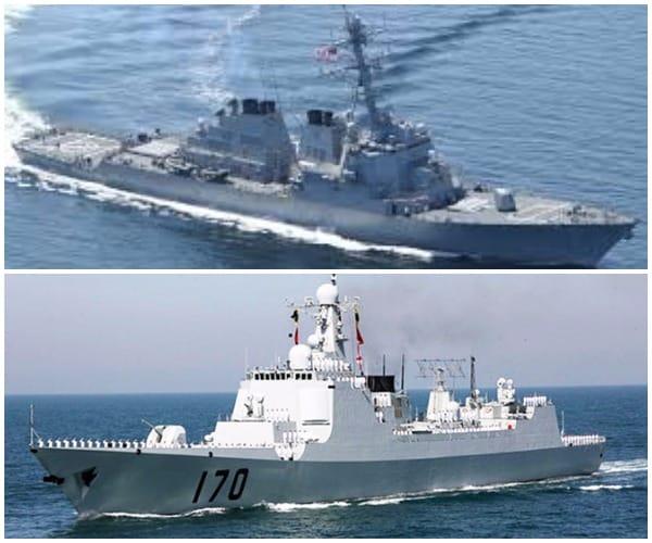 Tàu khu trục Mỹ USS Decatur (ảnh trên), bị chiếc tàu đã bị Tàu Lan Châu 170 Trung Quốc (ảnh dưới) áp sát hôm 30/9.