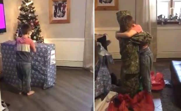 Người cha quân nhân Mỹ nằm trong hộp quà Giáng sinh tặng con