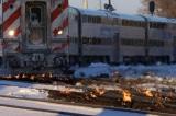 Cảnh tượng dùng lửa đốt nóng đường ray xe lửa ở Chicago