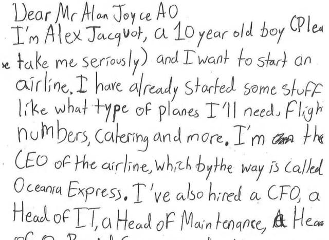 CEO Qantas phản hồi cậu bé 10 tuổi muốn mở một hãng hàng không