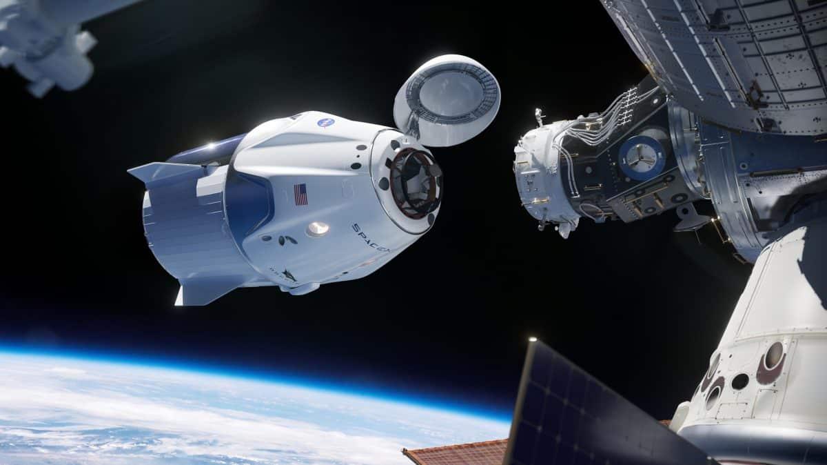 Ảnh minh họa cho tàu vũ trụ Dragon của SpaceX kết nối với trạm không gian ISS (ảnh: SpaceX)