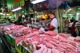 thịt heo; chợ