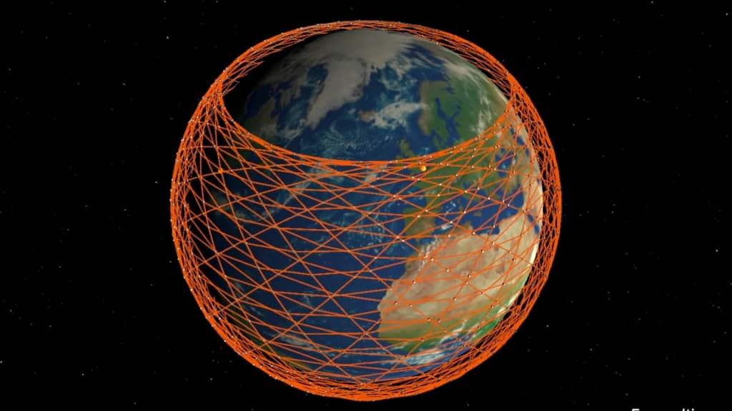 Ảnh minh họa hệ thống các vệ tinh Starlink bao phủ Trái Đất (Ảnh: Mark Handley/University College London)