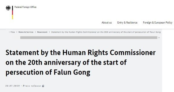 Bộ ngoại giao Đức lên tiếng về cuộc đàn áp Pháp Luân Công