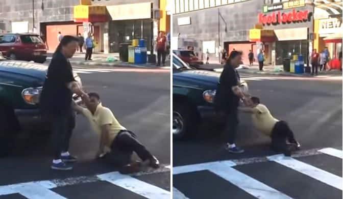 """Màn """"ăn vạ"""" tai nạn ở New York của người đàn ông TQ (video)"""
