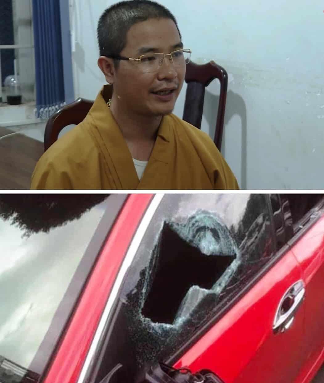 nhà sư đập vỡ kính ô tô