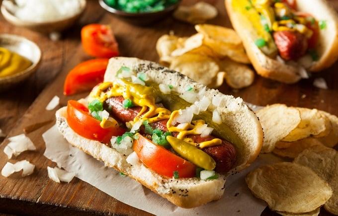 hot dog chicago, hot dog, du lịch Chicago
