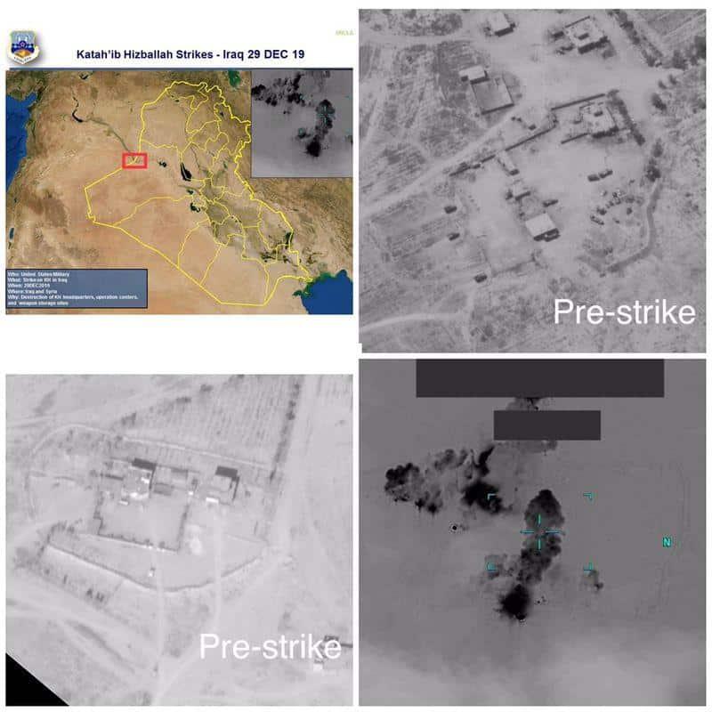 Hình ảnh mô tả trước và sau khi căn cứ của nhóm dân quân Kataib Hezbollah bị Mỹ không kích hôm 29/12.