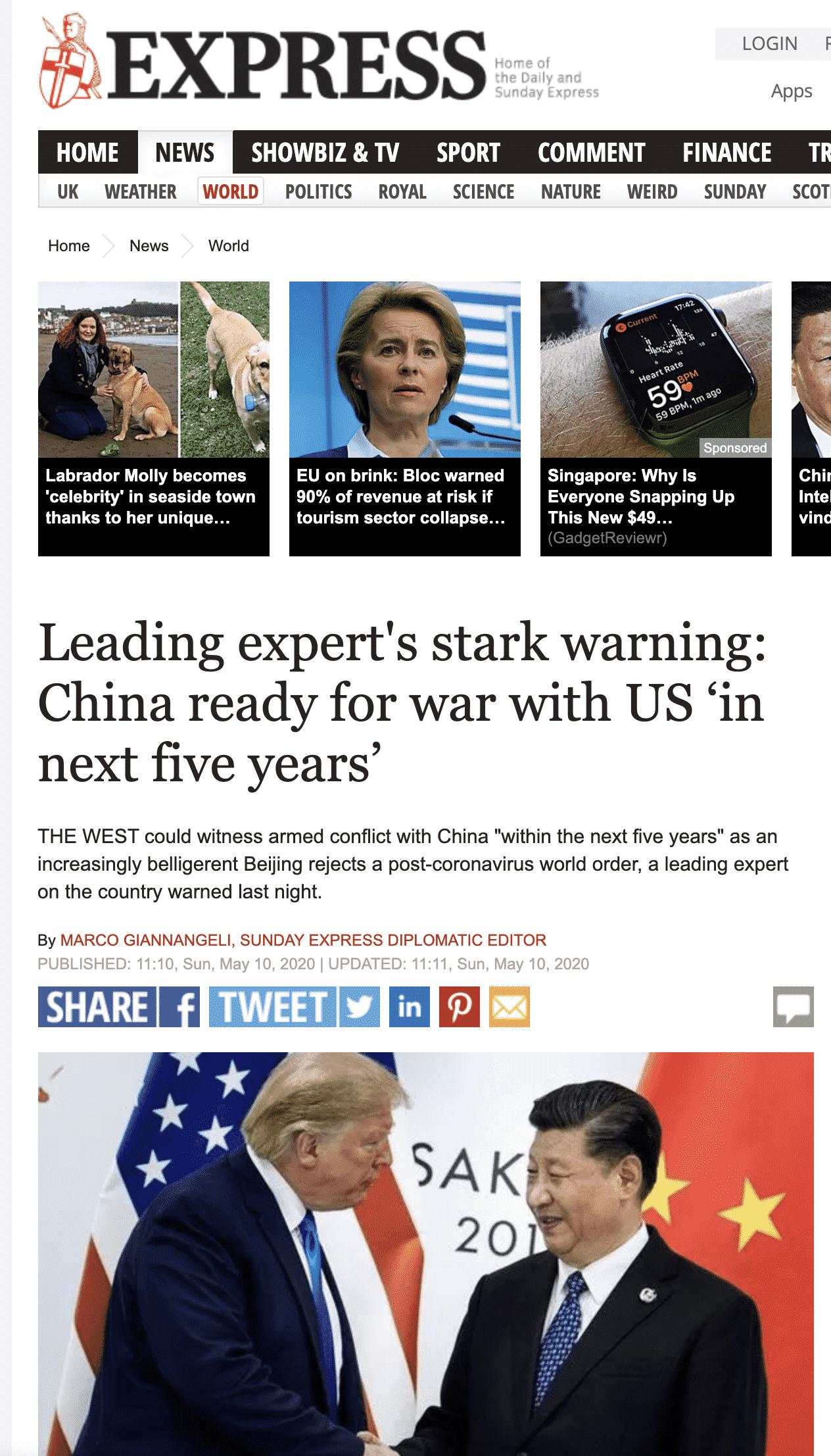 """""""Chuyên gia cảnh báo: Trung Quốc chuẩn bị cho 5 năm tới chiến tranh nóng với Mỹ"""""""