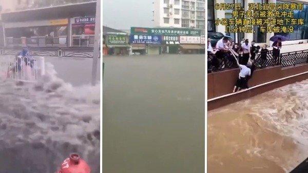 Tình hình lũ lụt tại khu vực thành phố Nghi Xương tỉnh Hồ Bắc, cánh đập Tam Hiệp 40km. (Ảnh cắt từ video)