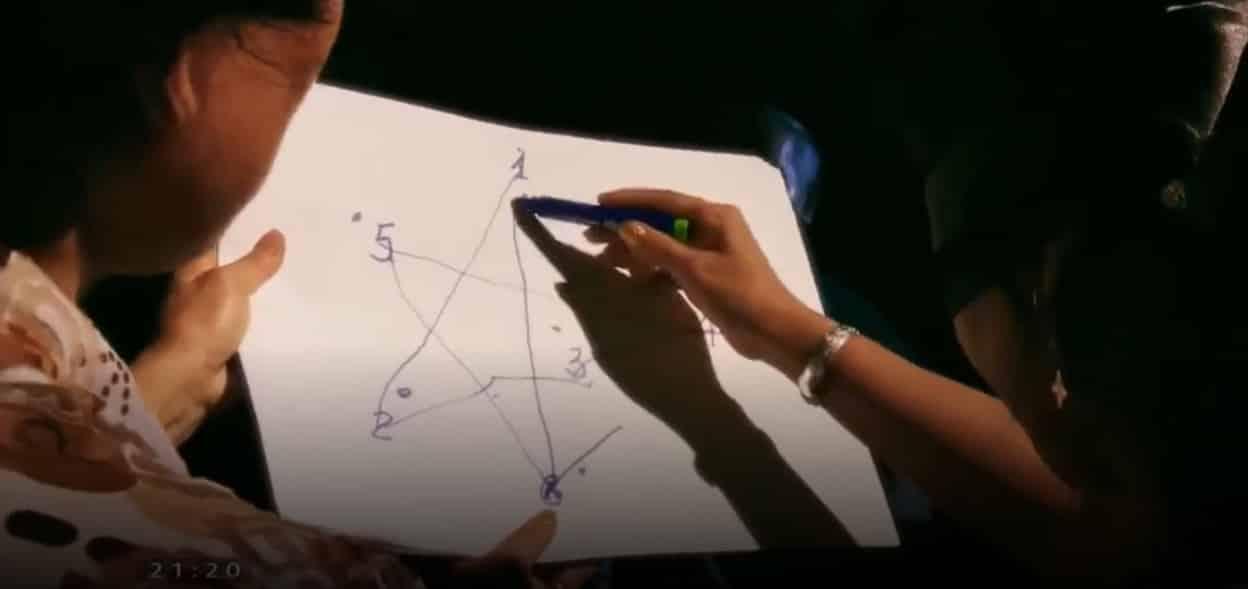 Chị Thiêm có thể nối 5/6 điểm để tạo thành một hình ngôi sao 5 cánh khi mắt bị bịt kín (ảnh chụp video/vtv.vn)