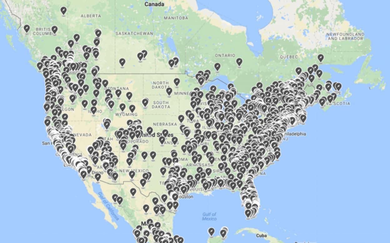 Các trạm sạc điện của Tesla tại Mỹ. (Ảnh: Electrek)
