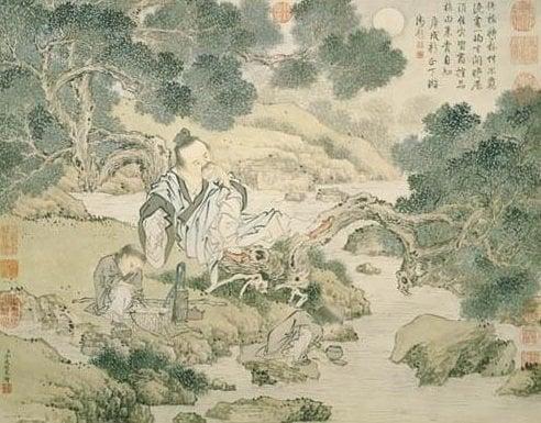 Cảnh một văn sĩ đang ngồi bên bờ suối thưởng thức trà.