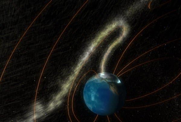 Một sự kiện chuyển giao thông lượng (flux transfer event – FTE) xảy ra khi một cổng từ mở ra trên từ quyển Trái Đất và thông qua đó các hạt vật chất cao năng lượng từ phía Mặt Trời có thể chảy vào bên trong. (Ảnh: NASA)