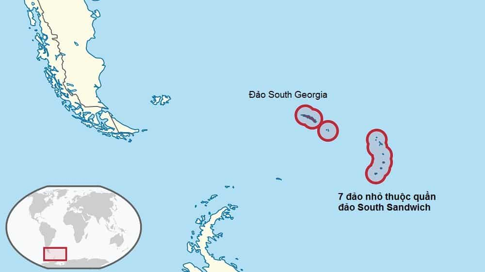 Quần đảo hình trăng lưỡi liềm South Sandwich ở phía nam Đại Tây Dương. 7 hòn đảo thuộc South Sandwich tương ứng với 7 tảng cự thạch trong vòng tròn phía nam của Avebury. (Ảnh: Wikitravel.org)