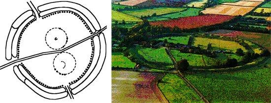 Ảnh mặt bằng vòng tròn đá Avebury. Hãy chú ý đến hai vòng tròn nhỏ hơn bên trong vòng tròn lớn Avebury.
