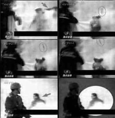Từ trái qua phải, từ trên xuống dưới: 6 khung hình cho thấy một cảnh sát đã giết người diệt khẩu trong chính đoạn video mà chính quyền Trung Quốc công bố về vụ tự thiêu tại Thiên An Môn. Đây chỉ là một trong hơn 10 bằng chứng cho thấy vụ tự thiêu được dàn dựng.
