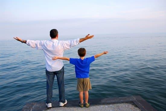 cha và con trai, dẫn con đi du lịch