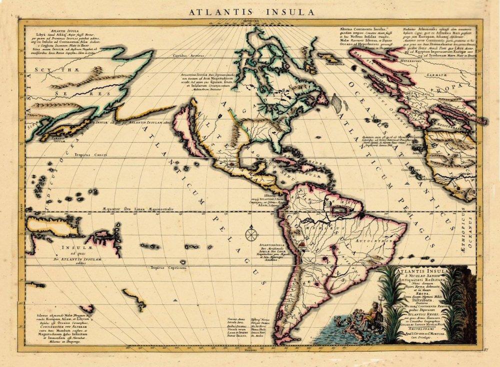 """""""Atlantis Insula"""" hoặc bản đồ của """"Đảo Atlantis"""" vẽ bởi nhà lập bản đồ Pháp Guillermo Sanson, 1661."""