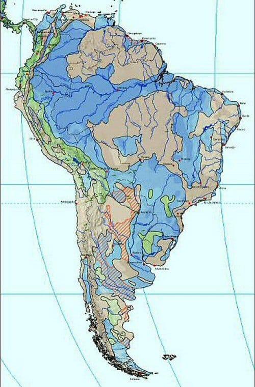 """Hình ảnh này cho biết phần lớn Nam Mỹ ngập trong nước vào mùa mưa, làm cho nó trở thành """"thế giới nước"""""""