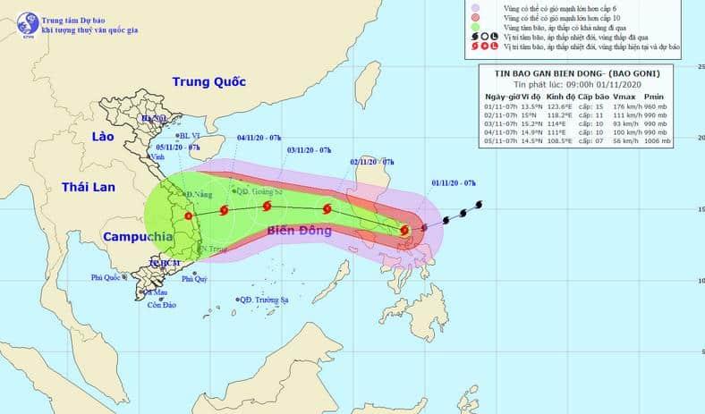 bão Goni, biển Đông