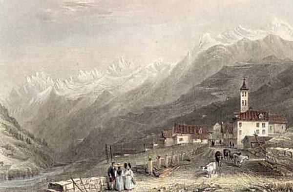 Một bức tranh vẽ cảnh Thụy Sĩ năm 1860 của W. H: Bartlett