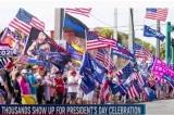 Đoàn xe chở ông Trump đi qua đám đông tập hợp nhân 'Ngày Tổng thống'