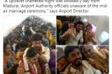 """Cặp đôi Ấn Độ thuê máy bay để tổ chức """"hôn lễ trên không"""""""