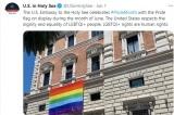 Đại sứ quán Mỹ tại Vatican treo lá cờ cầu vồng trong cả tháng Sáu