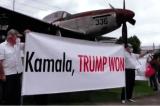 """Người biểu tình Guatemala chào đón Kamala Harris với biểu ngữ """"Trump đã thắng"""""""