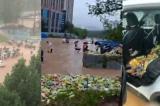 Trịnh Châu: Mưa lũ làm sập nhà kho, tranh cướp 300.000 chai nước giải khát